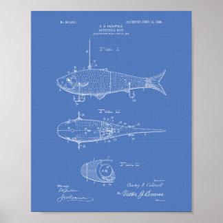 Artificial Bait 1908 Patent Art Blueprint Poster
