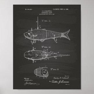 Artificial Bait 1908 Patent Art Chalkboard Poster