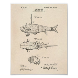 Artificial Bait 1908 Patent Art Old Peper Poster