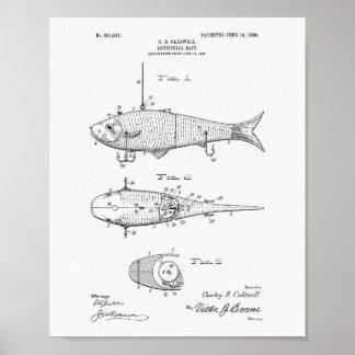 Artificial Bait 1908 Patent Art White Paper Poster