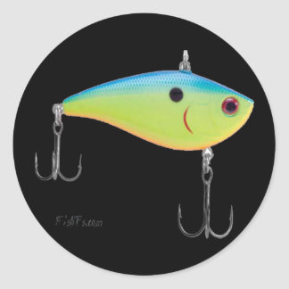 Artificial Bait, Tackle, Fishing Gear Classic Round Sticker