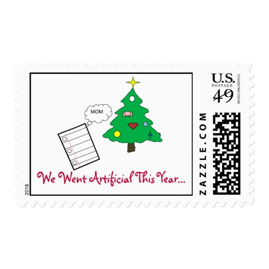 Artificial Christmas Tree Cartoon Postage Stamp