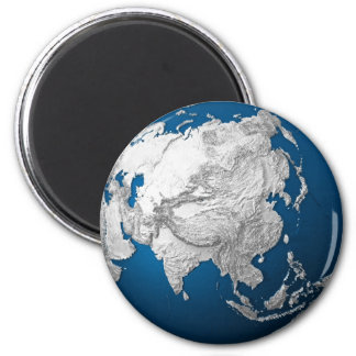 Artificial Earth - Asia. 3d Render 2 Inch Round Magnet