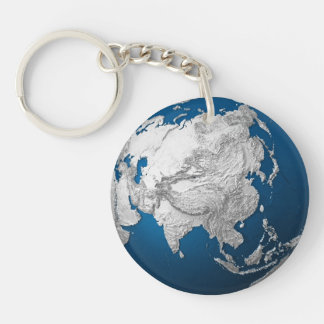 Artificial Earth - Asia. 3d Render Keychain