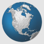 Artificial Earth - North America. 3d Render Classic Round Sticker