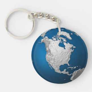 Artificial Earth - North America. 3d Render Keychain