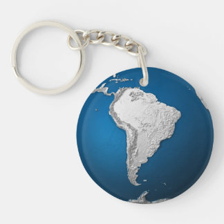 Artificial Earth - South America. 3d Render Keychain