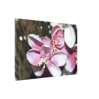 Artificial flowers canvas. Pink and white. Canvas Print