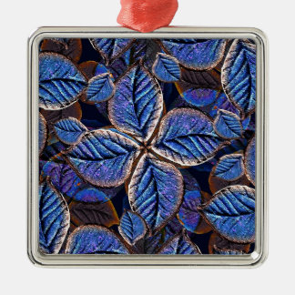 Artificial Leaves Composition Square Metal Christmas Ornament