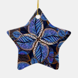 Artificial Leaves Composition Double-Sided Star Ceramic Christmas Ornament