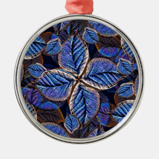 Artificial Leaves Composition Round Metal Christmas Ornament