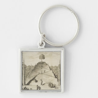 Artificial Mount Parnassus, engraved by Johannes V Silver-Colored Square Keychain