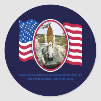 Artiistic Rendering of Space Shuttle Atlantis Classic Round Sticker