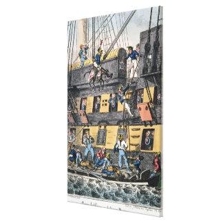 Artillería o un infante de marina de caballo (engr impresión en lienzo