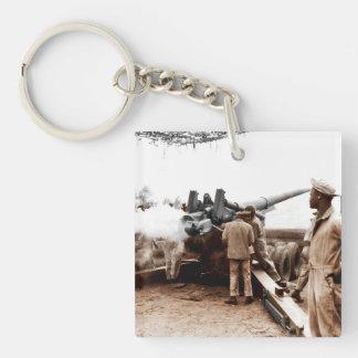 Artilleros afroamericanos llavero cuadrado acrílico a una cara