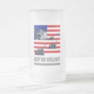 Artillery -- Keep 'Em Rolling! Frosted Glass Beer Mug