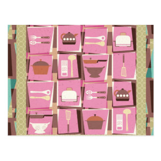 Artilugios de la cocina - postal rosada (o tarjeta