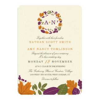 Artisan Cream Fall Wreath Wedding Invitations
