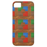 Artisan Elegant Leather Look Squares Patchwork iPhone 5 Covers