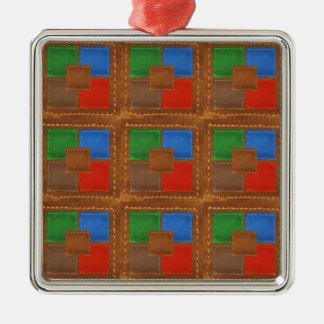 Artisan Elegant Leather Look Squares Patchwork Christmas Tree Ornament