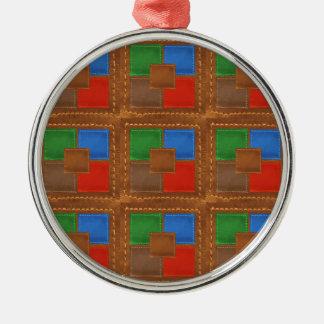 Artisan Elegant Leather Look Squares Patchwork Christmas Ornament