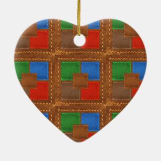 Artisan Elegant Leather Look Squares Patchwork Ornament