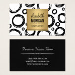Artist Abstract Sketch Circles and Gold Name Logo Business Card