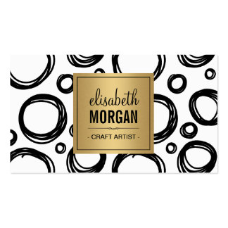 Artist Abstract Sketch Circles and Gold Name Logo Double-Sided Standard Business Cards (Pack Of 100)