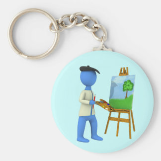 Artist and Easel Keychain