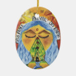Artist Anjali ~ Age 11 ~ India Double-Sided Oval Ceramic Christmas Ornament