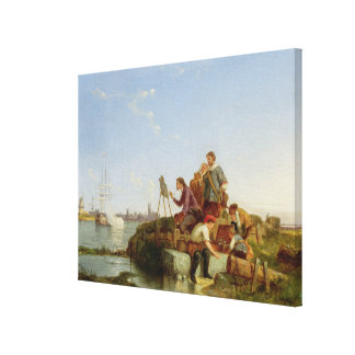 Artist at his Easel and Shipping beyond, 1894 (oil Canvas Print