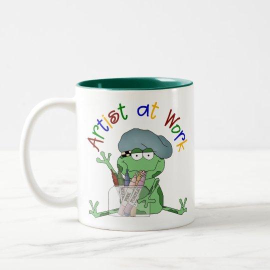 Artist At Work Artist Frog Two-Tone Coffee Mug