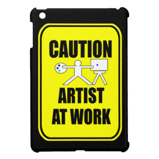 artist at work warning sign ipad cover