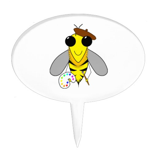 Artist bee cartoon cake picks