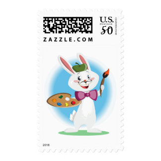 Artist Bunny Rabbit Cartoon Cute Stamp