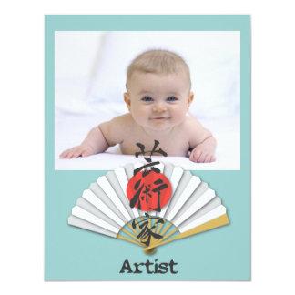 Artist calligraphy with Geisha Fan Card