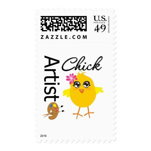 Artist Chick Postage Stamp