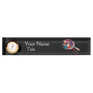 ARTIST COLOR PALETTE AND BRUSHES ,black Desk Name Plate