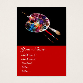 ARTIST COLOR PALETTE AND BRUSHES ,Black Red Business Card