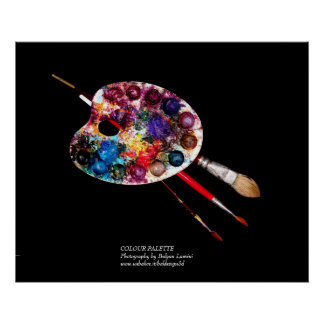 ARTIST COLOR PALETTE AND BRUSHES IN BLACK POSTER