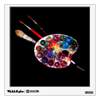 ARTIST COLOR PALETTE AND BRUSHES IN BLACK WALL DECAL