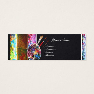 ARTIST COLOR PALETTE AND BRUSHES MONOGRAM MINI BUSINESS CARD