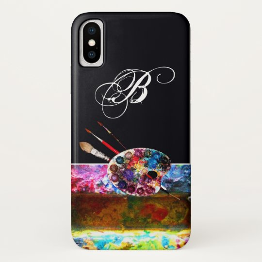 ARTIST COLOUR PALETTE MONOGRAM Black iPhone X Case