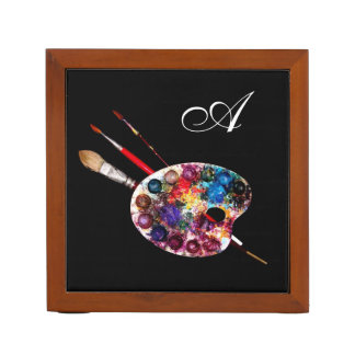 ARTIST COLOUR PALETTE MONOGRAM ,black Pencil Holder