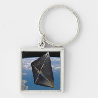 Artist concept of NanoSail-D in space Silver-Colored Square Keychain