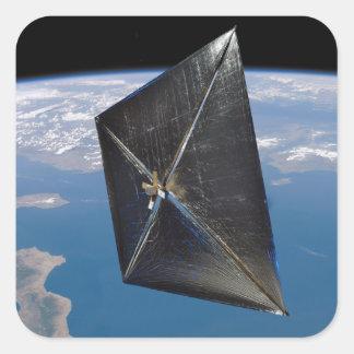 Artist concept of NanoSail-D in space Square Sticker