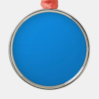 Artist Created Blue Color Shade :Add txt n image Round Metal Christmas Ornament