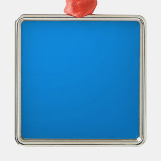 Artist Created Blue Color Shade :Add txt n image Square Metal Christmas Ornament