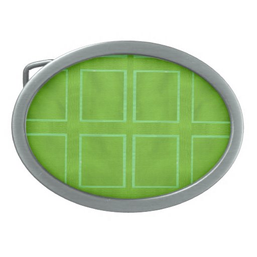 ARTIST Created Green Check Background Oval Belt Buckles