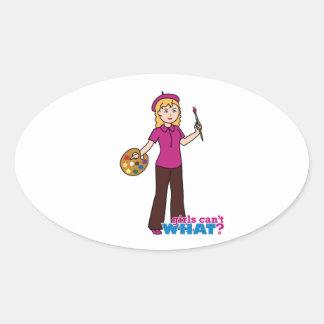 Artist-Girl 1 Oval Sticker